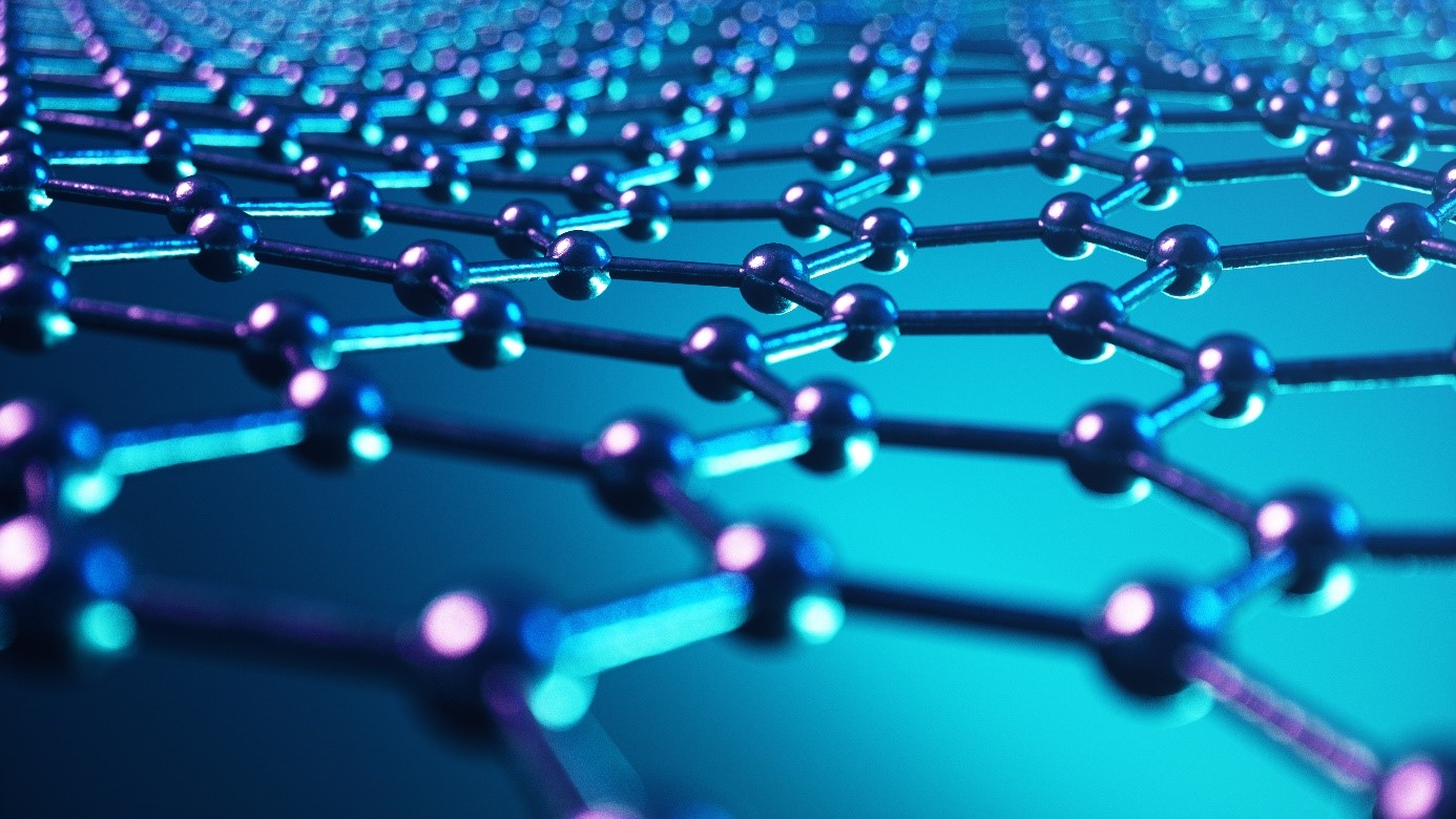 Graphene is a flat sheet of strongly bonded carbon atoms in hexagonal cells, as seen in this 3D illustration.